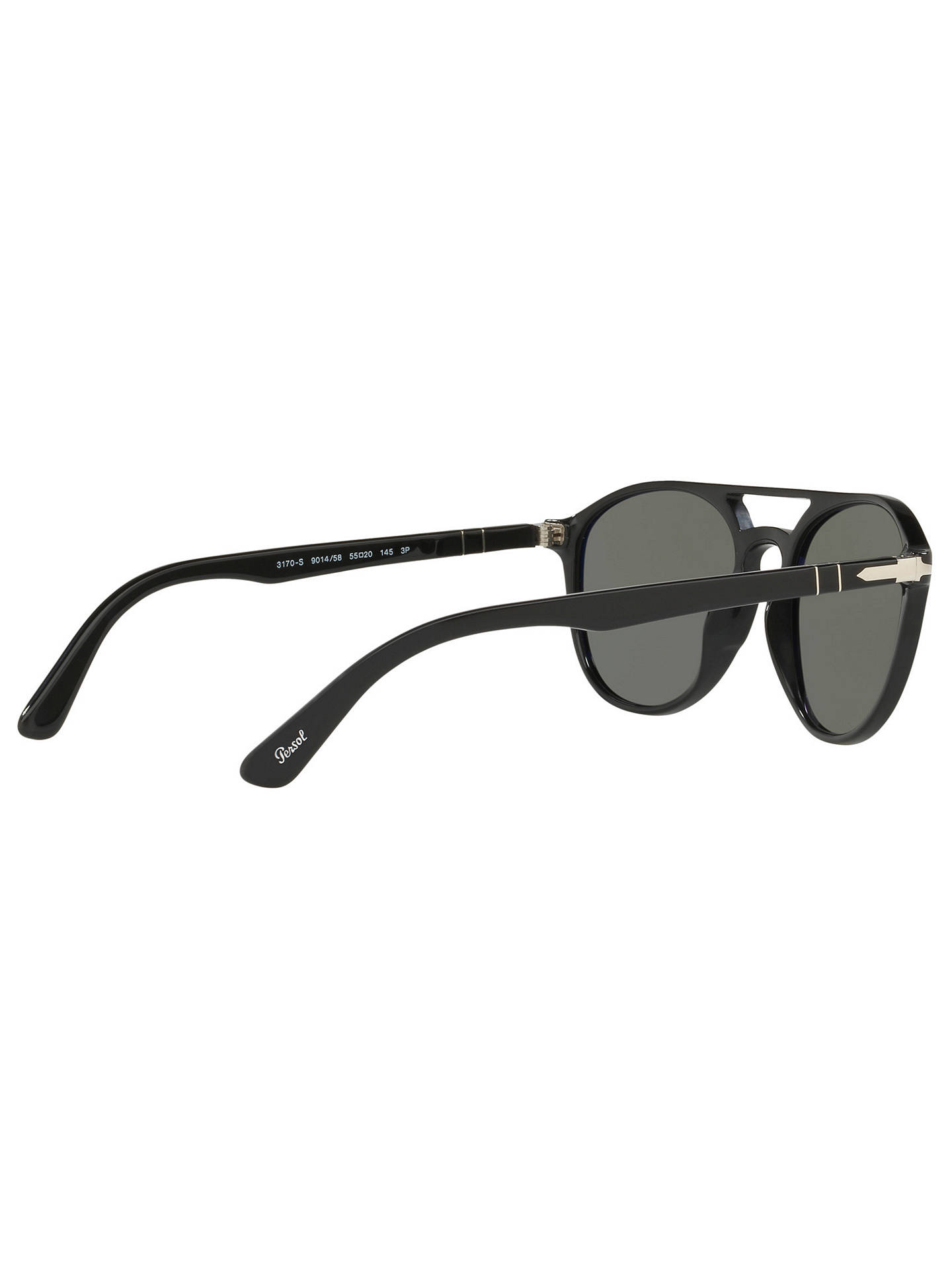 BuyPersol PO3170S Polarised Oval Sunglasses, Black/Grey Online at johnlewis.com