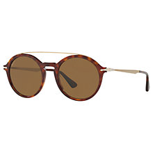 Buy Persol PO3172S Polarised Round Sunglasses, Tortoise/Brown Online at johnlewis.com