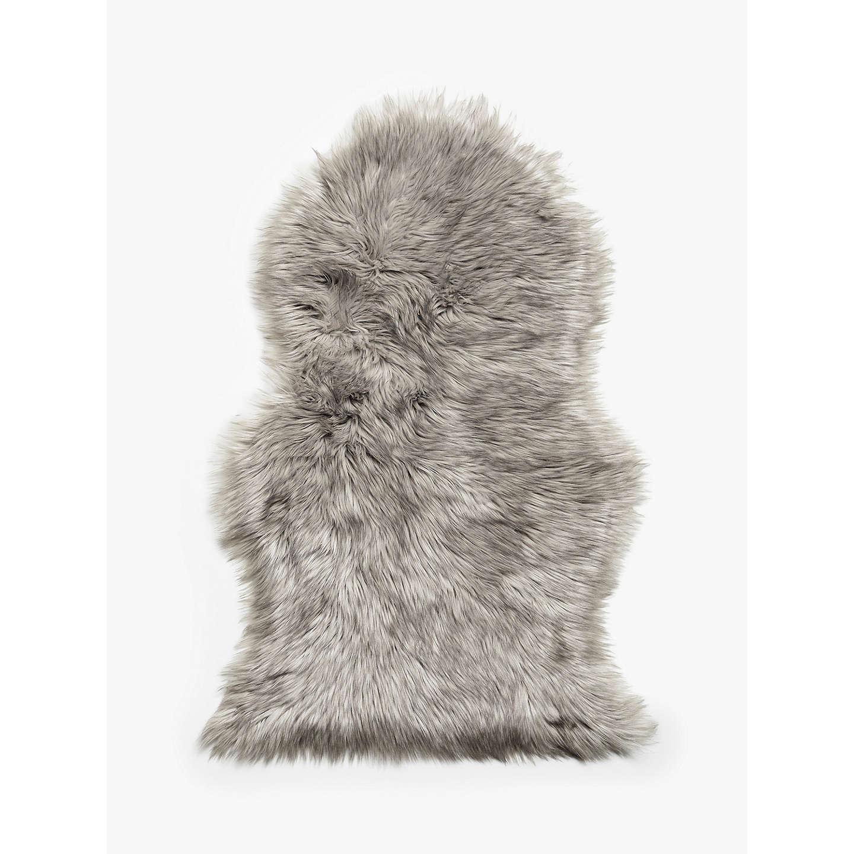 John Lewis Faux Fur Sheepskin Rug, Dove Grey At John Lewis