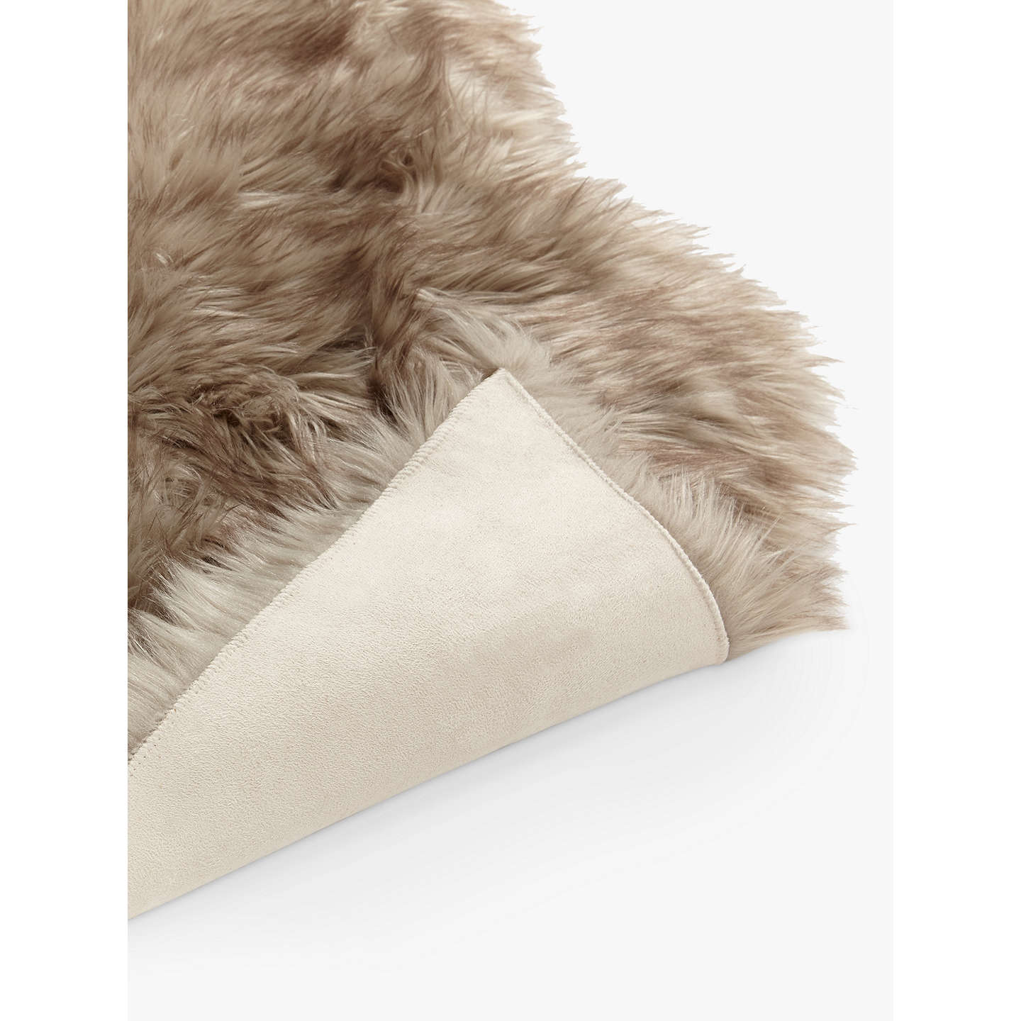 John Lewis Faux Fur Sheepskin Rug, Dove Grey At John Lewis