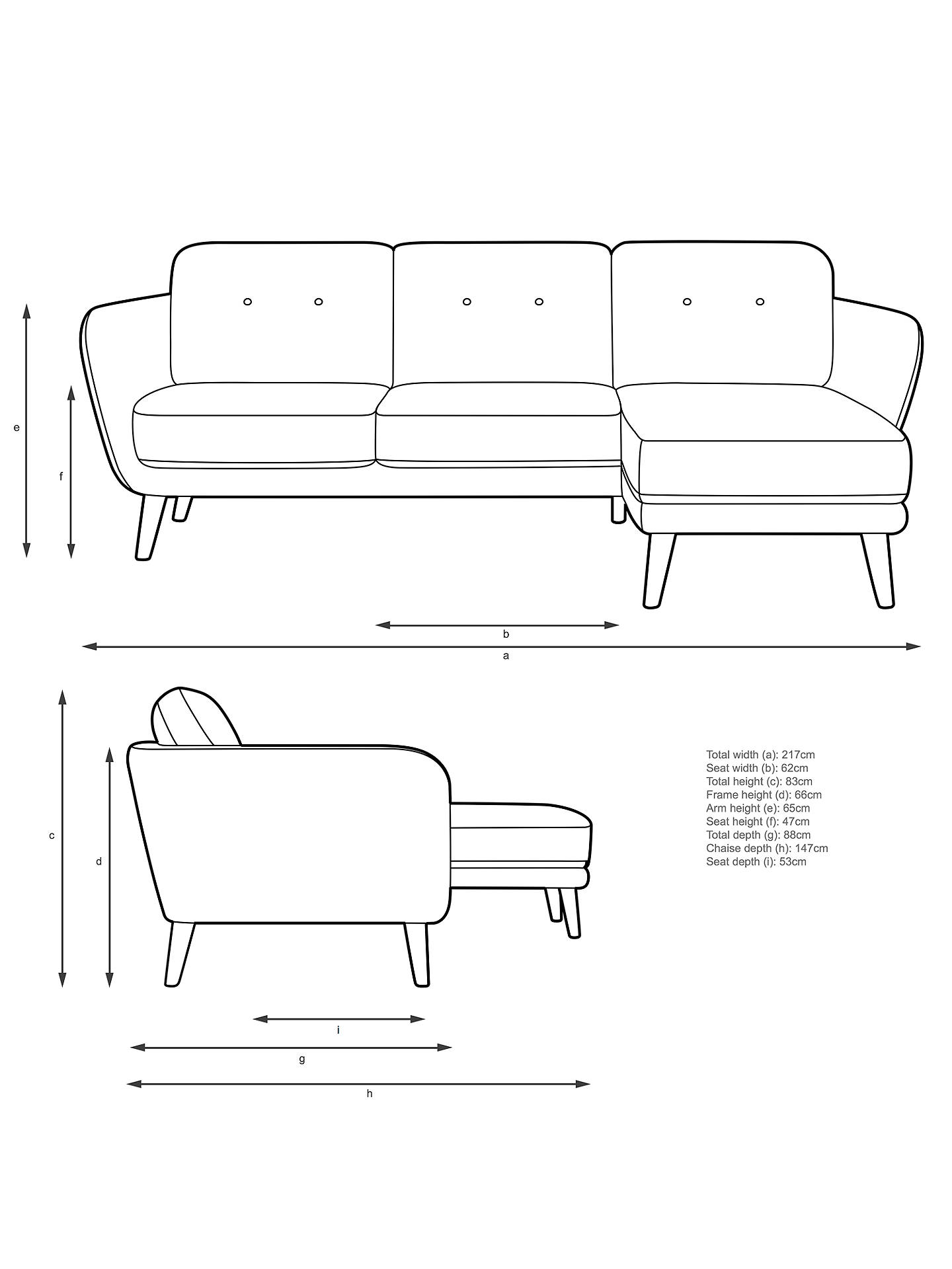 BuyJohn Lewis & Partners Arlo RHF Chaise End Sofa, Light Leg, Bevan Navy Online at johnlewis.com