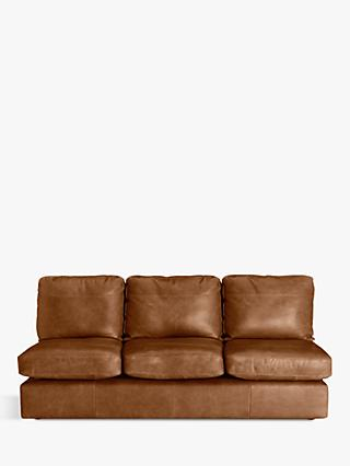 House by John Lewis Oliver Grand 4 Seater Armless Leather Sofa, Dark Leg, Luster Cappuccino