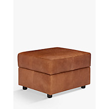 Buy John Lewis Oliver Leather Storage Footstool, Dark Leg Online at johnlewis.com