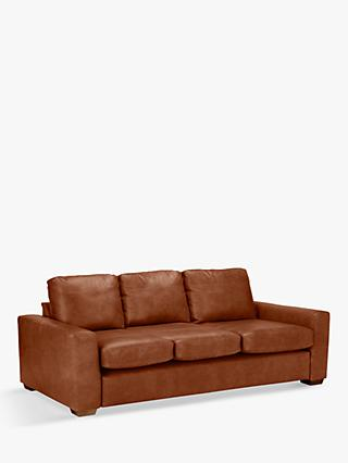 House by John Lewis Oliver Grand 4 Seater Leather Sofa, Dark Leg, Luster Cappuccino