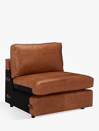 House by John Lewis Oliver Leather Modular Snuggler Armless Unit, Luster Cappuccino