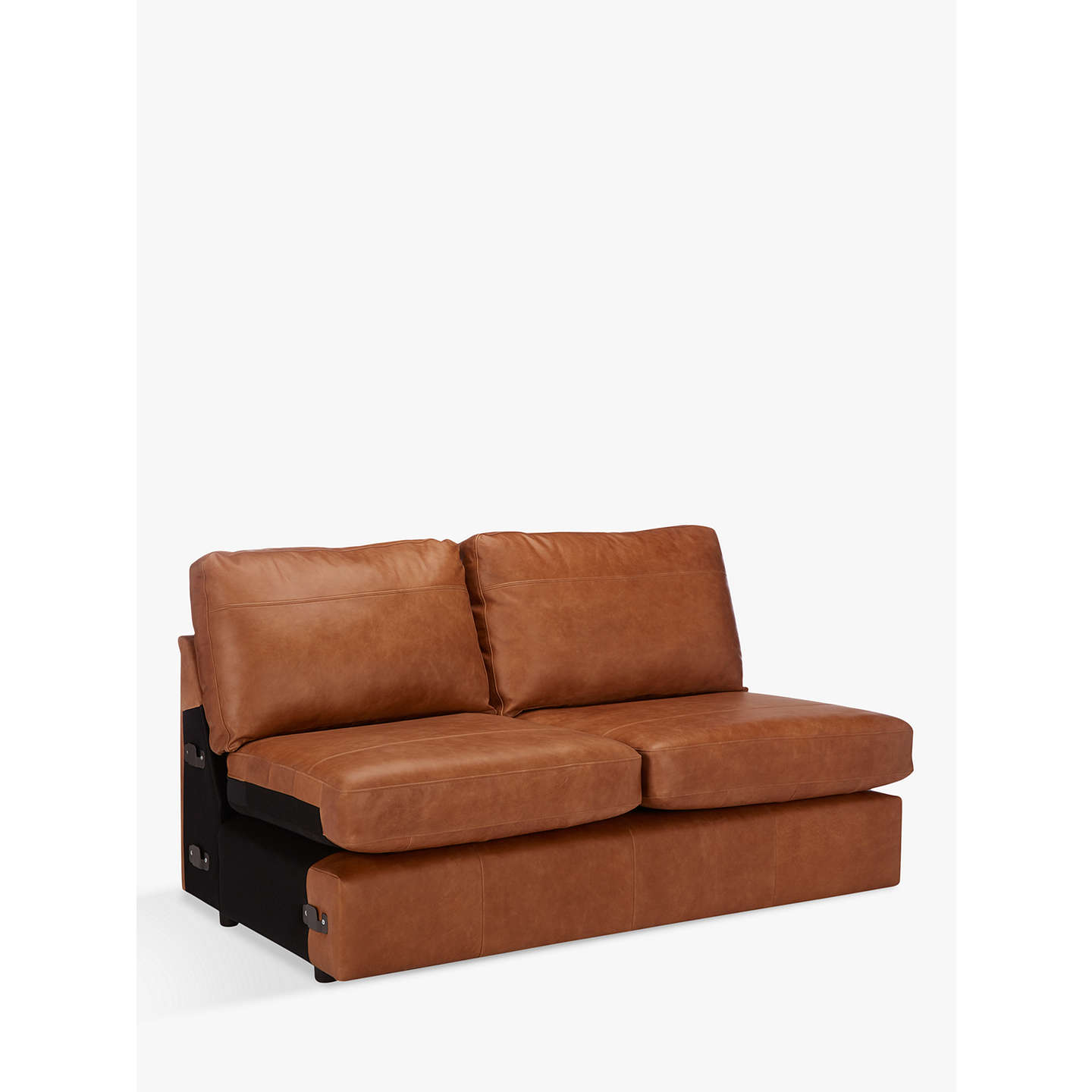 armless leather chairs. BuyJohn Lewis Oliver Large 3 Seater Armless Leather Sofa, Dark Leg, Luster Cappuccino Online Chairs