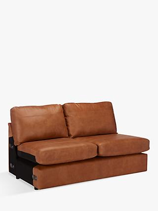 House by John Lewis Oliver Large 3 Seater Armless Leather Sofa, Dark Leg