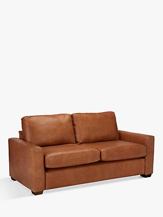 House by John Lewis Oliver Large 3 Seater Leather Sofa, Dark Leg