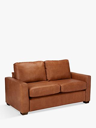 House by John Lewis Oliver Leather Small 2 Seater Sofa, Luster Cappuccino