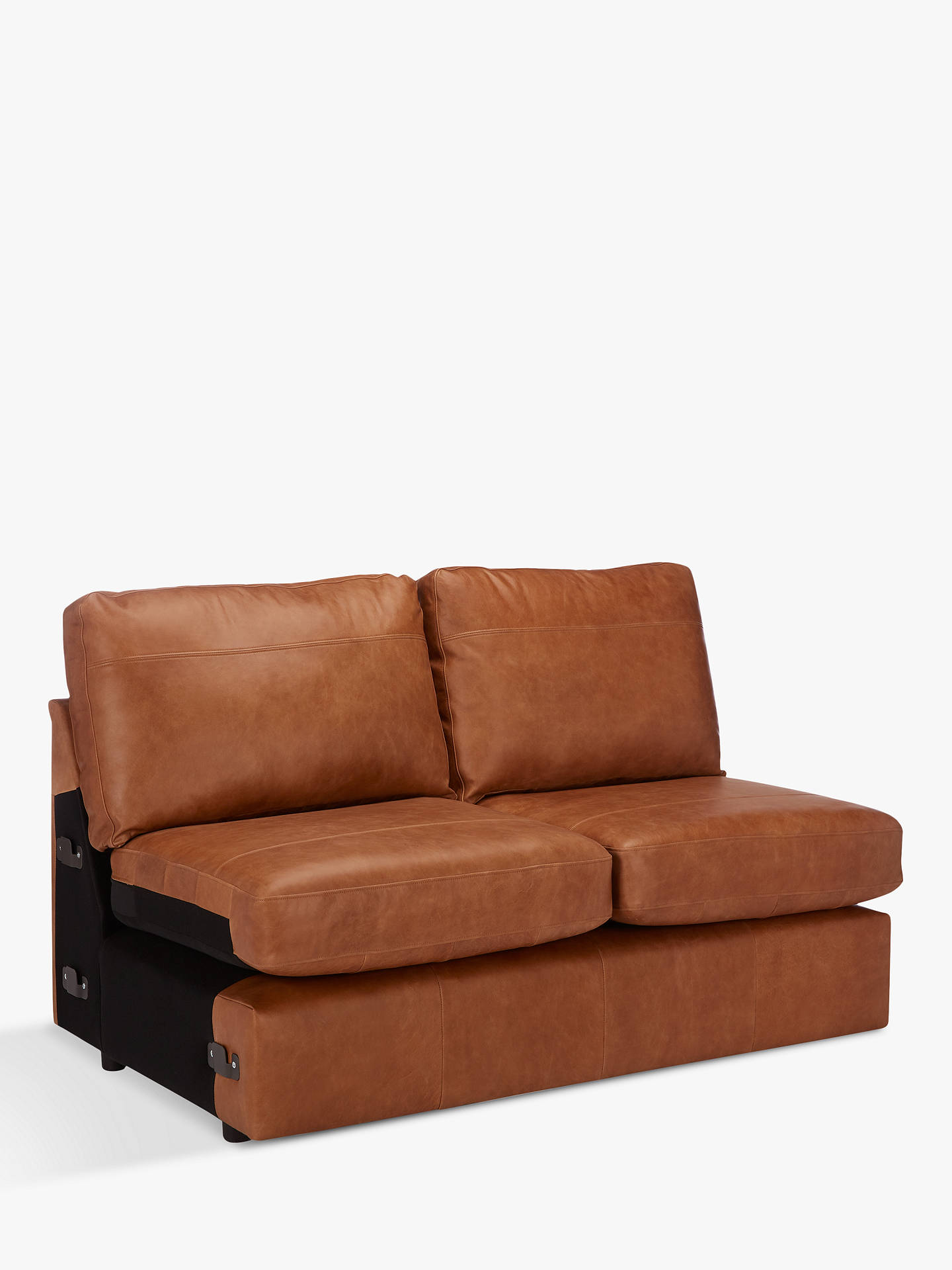 John Lewis Partners Oliver Leather Modular Small 2 Seater Armless Sofa Unit Er Cuccino