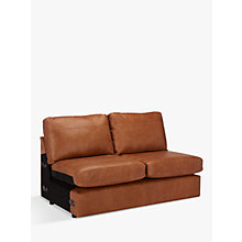 Buy John Lewis Oliver Medium 2 Seater Armless Leather Sofa, Dark Leg Online at johnlewis.com
