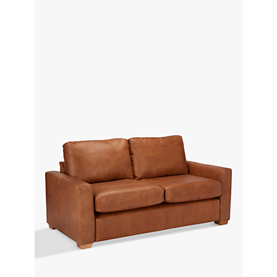 John Lewis Oliver Medium 2 Seater Leather Sofa, Dark Leg, Luster Cappuccino