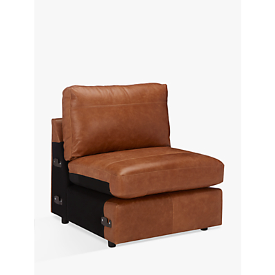John Lewis Oliver Leather Modular Single Armless Chair Unit, Luster Cappuccino
