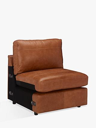 House by John Lewis Oliver Leather Modular Single Armless Chair Unit, Luster Cappuccino