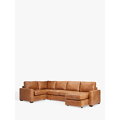 John Lewis & Partners Oliver Leather Corner Chaise Sofa, Dark Leg, Luster Cappuccino
