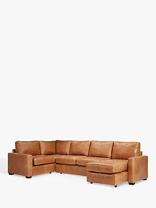 House by John Lewis Oliver Leather Corner Chaise Sofa, Dark Leg, Luster Cappuccino