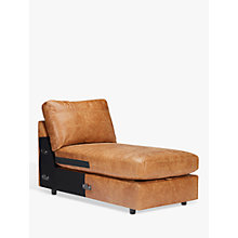 Buy John Lewis Oliver Leather Modular Storage Chaise Unit, Dark Leg, Luster Cappuccino Online at johnlewis.com