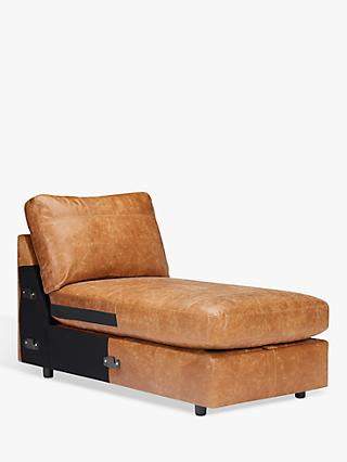House by John Lewis Oliver Leather Modular Storage Chaise Unit, Dark Leg, Luster Cappuccino