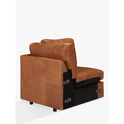 John Lewis & Partners Oliver Leather Armless Modular Corner Seat Unit, Dark Leg
