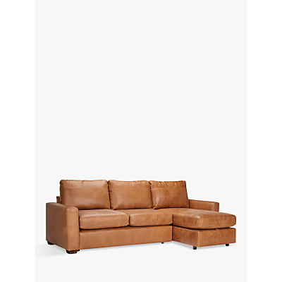 John Lewis Oliver Leather Modular Chaise Sofa Pack, Dark Leg, Luster Cappuccino
