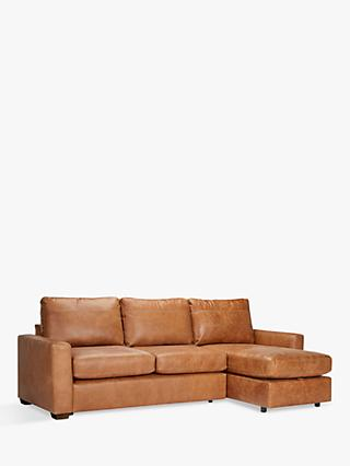House by John Lewis Oliver Leather Storage Chaise Sofa, Dark Leg, Luster Cappuccino