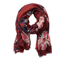 Buy Betty & Co. Floral Print Scarf, Dark Red Online at johnlewis.com
