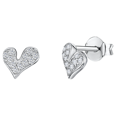 Image of Jools by Jenny Brown Cubic Zirconia Melting Hearts Stud Earrings, Silver