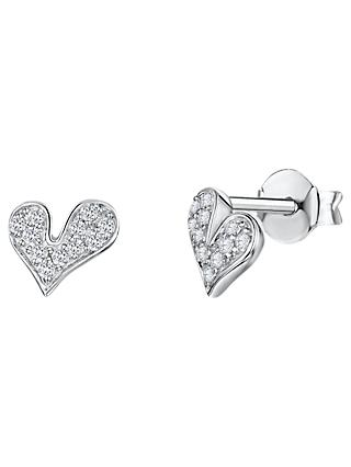 Jools by Jenny Brown Cubic Zirconia Melting Hearts Stud Earrings, Silver