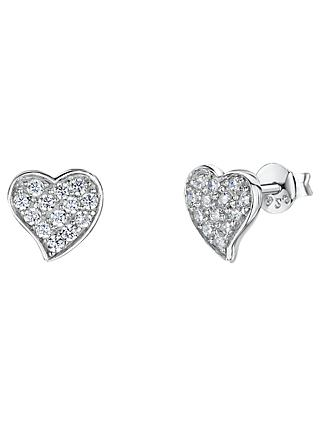 Jools by Jenny Brown Cubic Zirconia Heart Stud Earrings, Silver