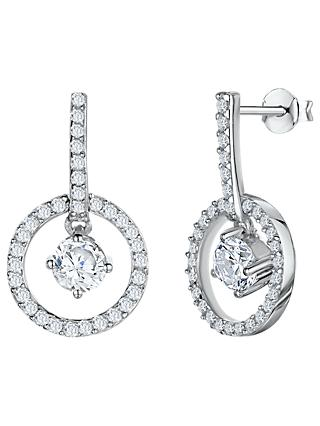 Jools by Jenny Brown Cubic Zirconia Circular Drop Earrings, Silver
