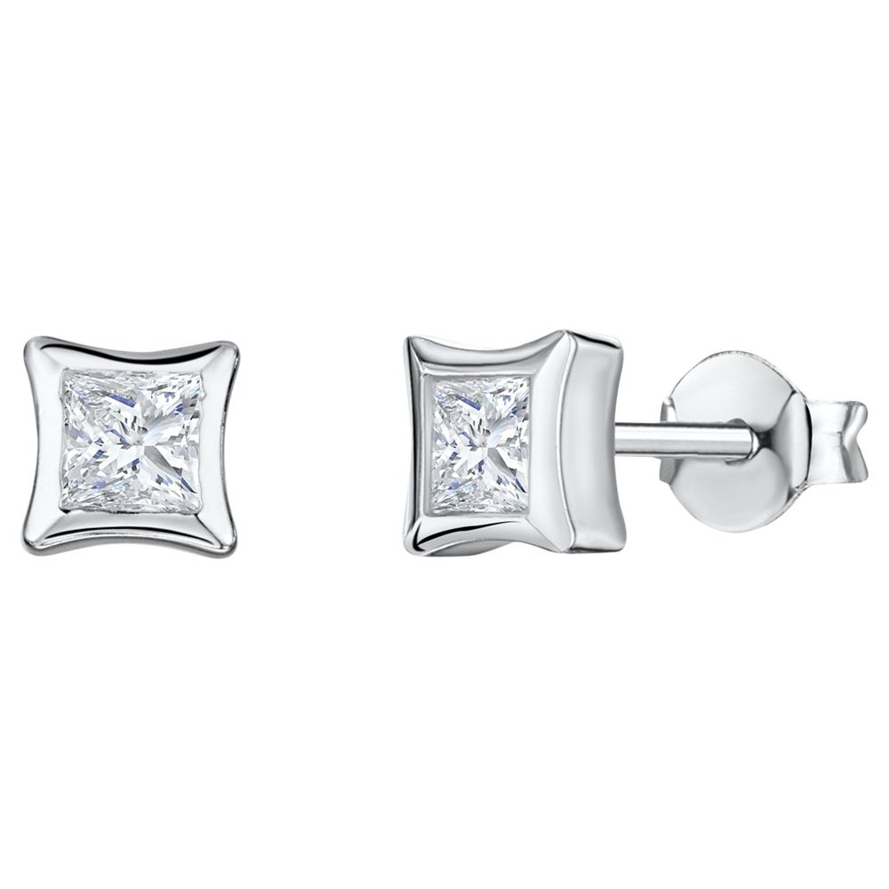 Jools by Jenny Brown Jools by Jenny Brown Cubic Zirconia Dented Square Earrings, Silver