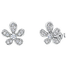 Buy Jools by Jenny Brown Cubic Zirconia Floral Stud Earrings, Silver Online at johnlewis.com