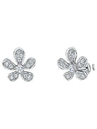 Jools by Jenny Brown Cubic Zirconia Floral Stud Earrings, Silver