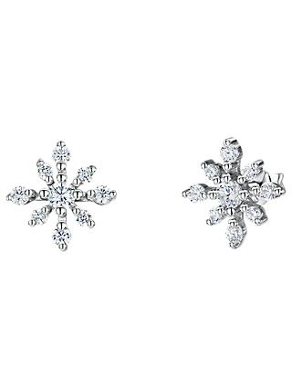 Jools by Jenny Brown Cubic Zirconia Snowflake Stud Earrings, Silver