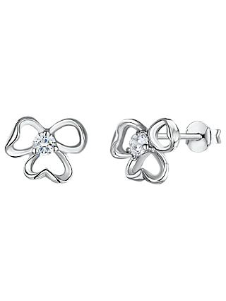 Jools by Jenny Brown Cubic Zirconia Tri-Stemmed Stud Earrings, Silver