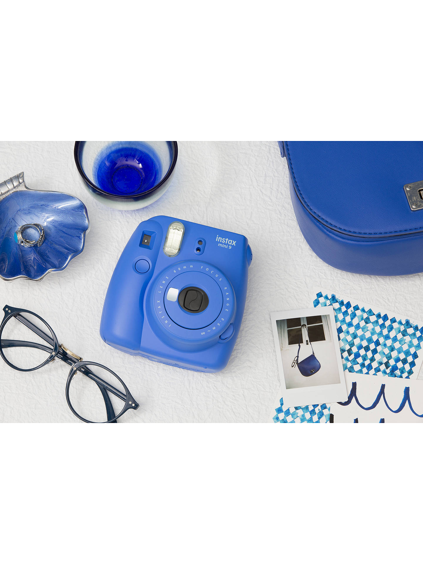 Buy Fujifilm Instax Mini 9 Instant Camera with 10 Shots of Film, Built-In Flash & Hand Strap, Cobalt Blue Online at johnlewis.com