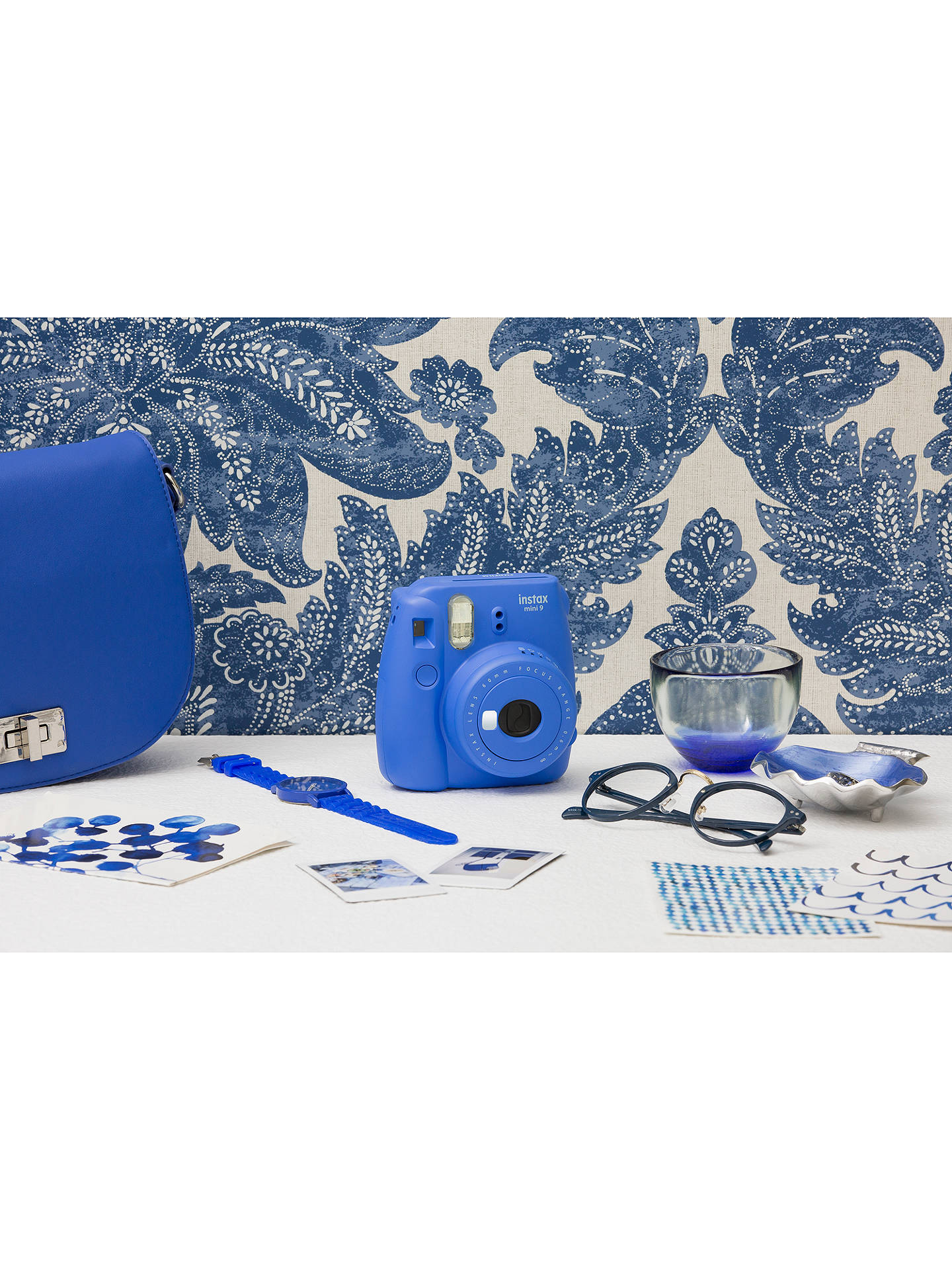 BuyFujifilm Instax Mini 9 Instant Camera with 10 Shots of Film, Built-In Flash & Hand Strap, Cobalt Blue Online at johnlewis.com