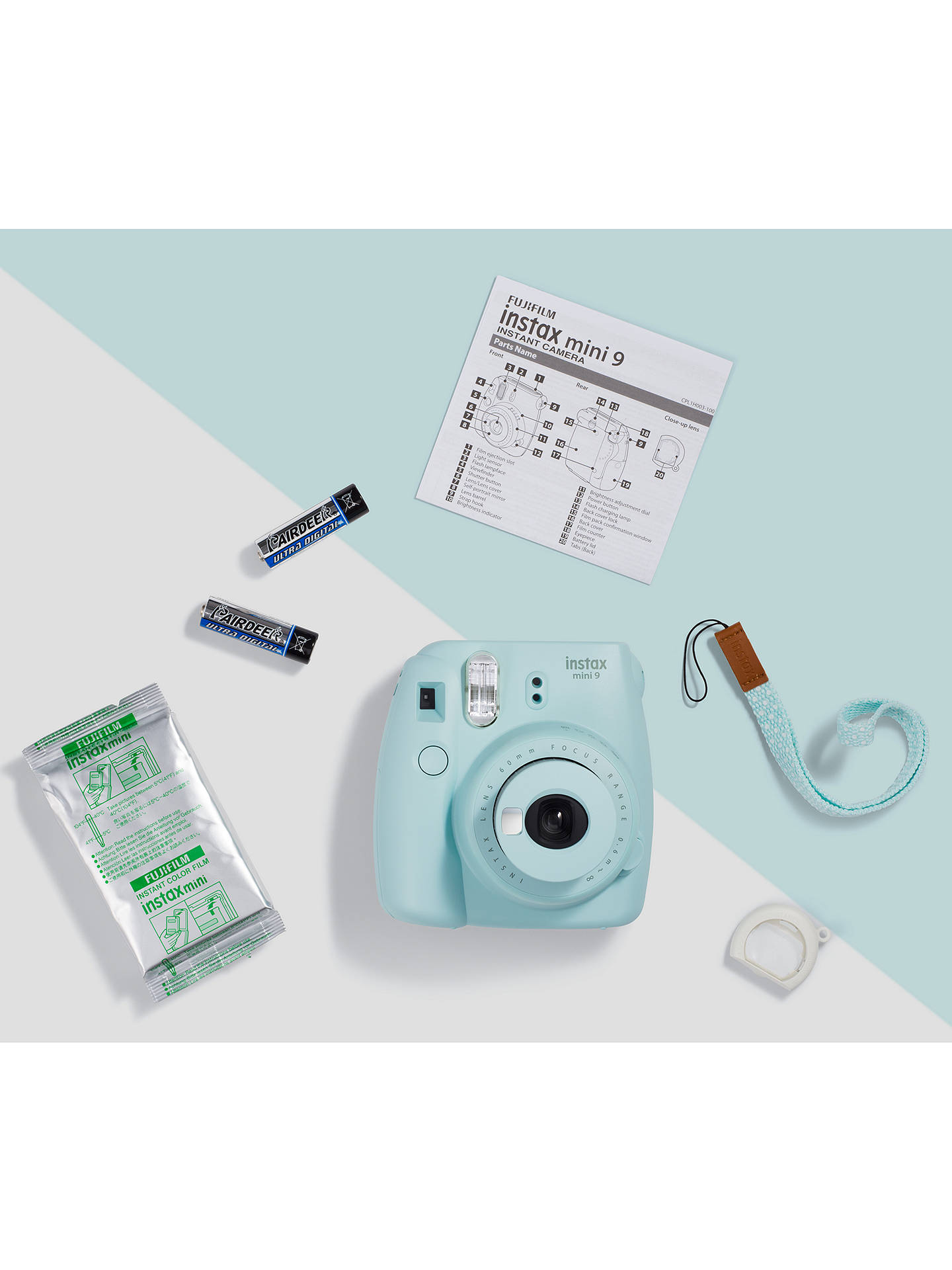 Buy Fujifilm Instax Mini 9 Instant Camera with 10 Shots of Film, Built-In Flash & Hand Strap, Ice Blue Online at johnlewis.com