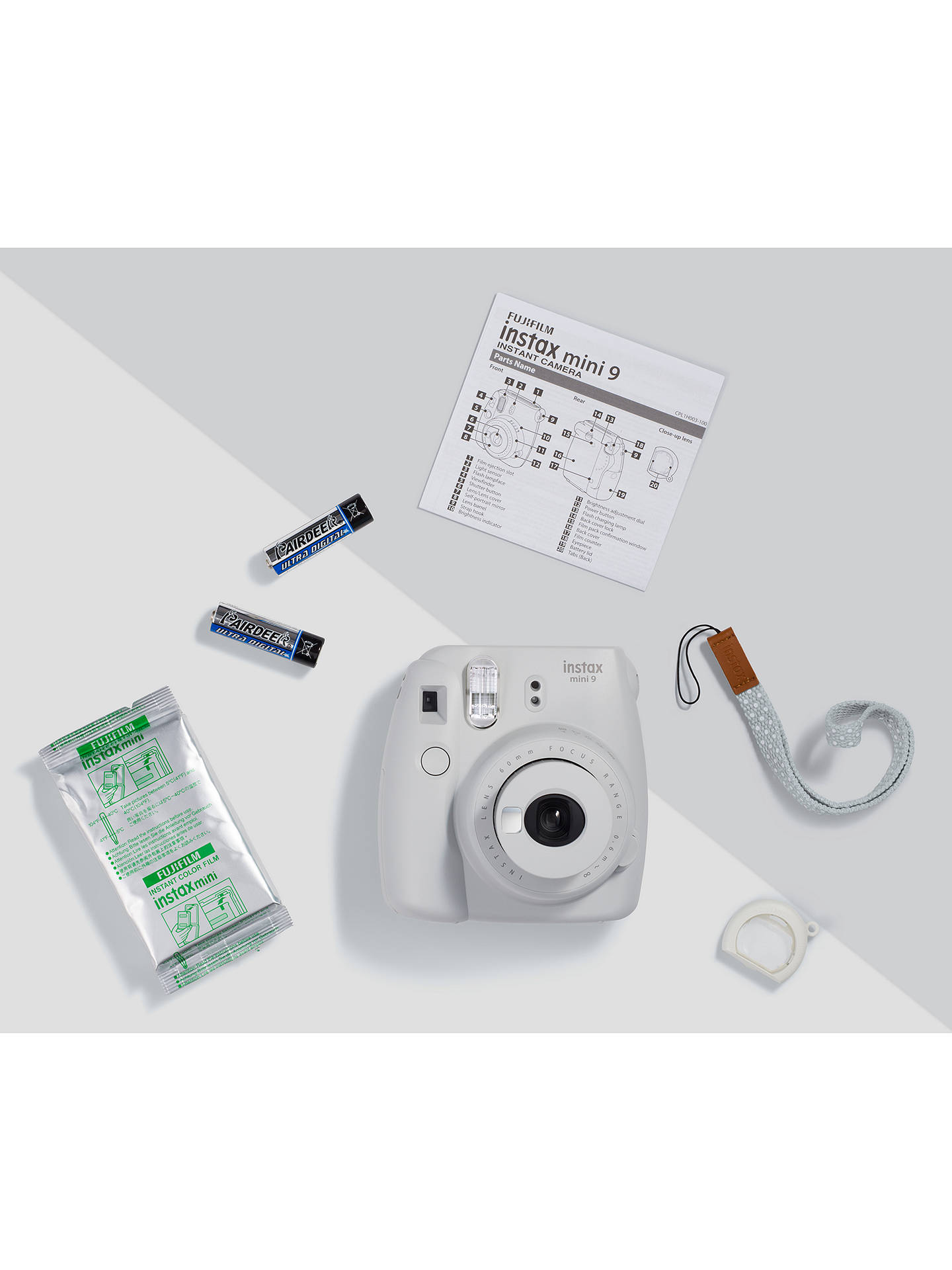 BuyFujifilm Instax Mini 9 Instant Camera with 10 Shots of Film, Built-In Flash & Hand Strap, Smoky White Online at johnlewis.com