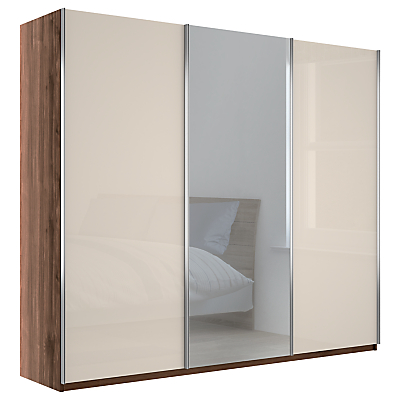 John Lewis & Partners Elstra 250cm Wardrobe with Glass and Mirrored Sliding Doors