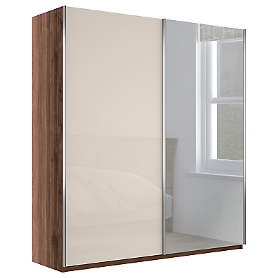 John Lewis Elstra 200cm Wardrobe with Glass and Mirrored Sliding Doors