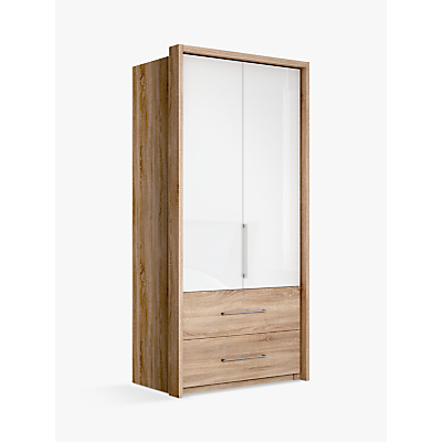 John Lewis Satis Combi Storage 100cm Wardrobe with Glass Hinged Doors