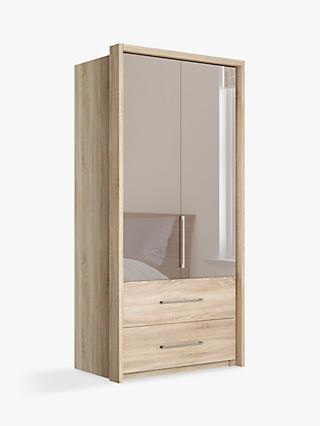John Lewis & Partners Satis Combi Storage 100cm Wardrobe with Bronzed Mirrored Hinged Doors