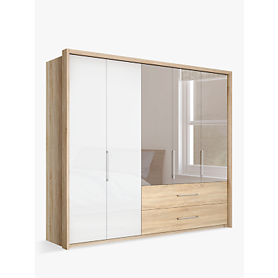 John Lewis Satis Combi Storage 250cm Wardrobe with Glass and Bronzed Mirrored Hinged Doors