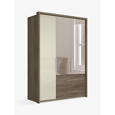 John Lewis Satis Combi Storage 150cm Wardrobe with Glass and Bronzed Mirrored Hinged Doors