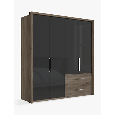John Lewis Satis Combi Storage 200cm Wardrobe with Glass Hinged Doors