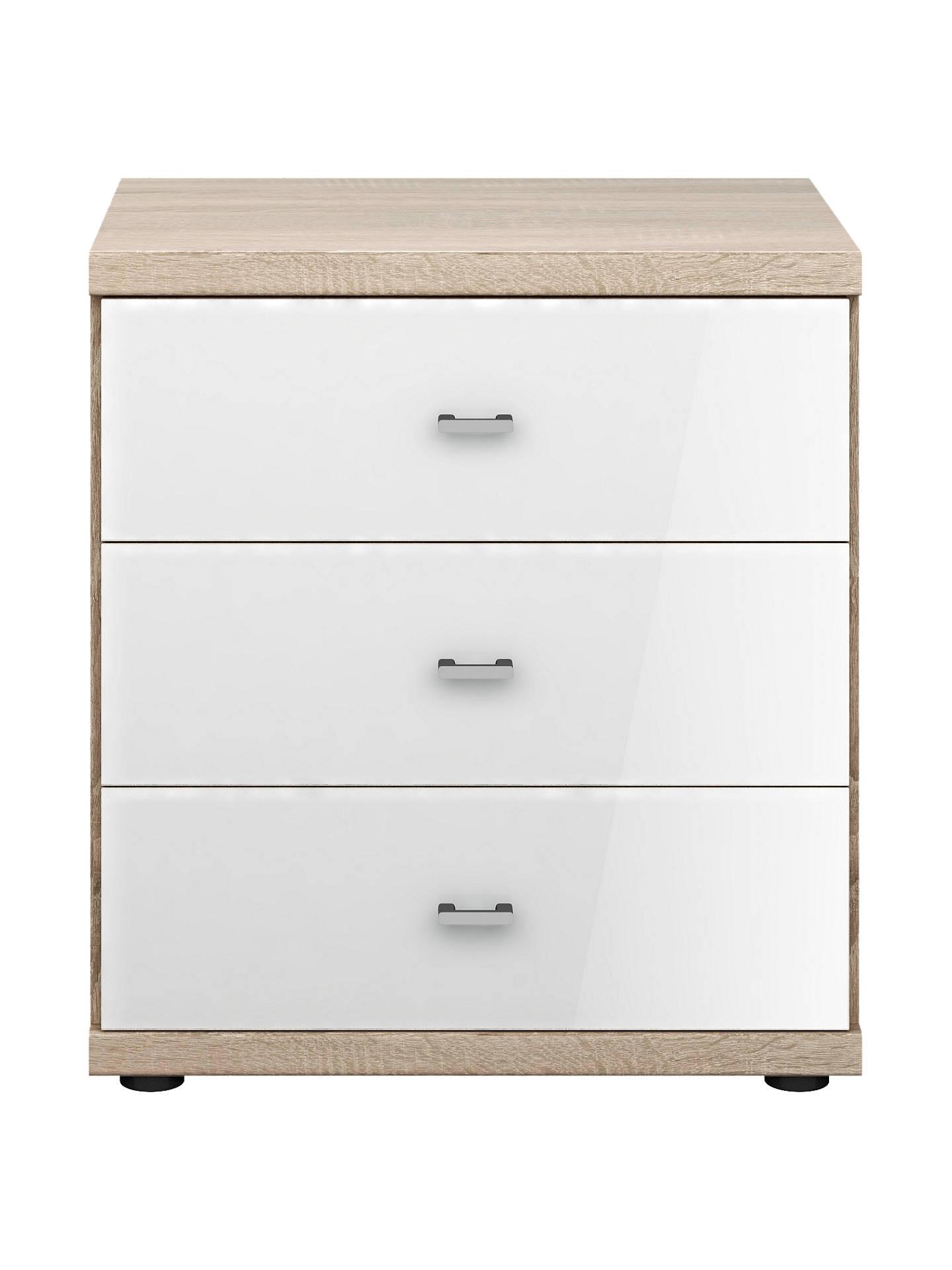John Lewis Partners Satis Gl Front 3 Drawer Bedside Table White Light Rustic Oak