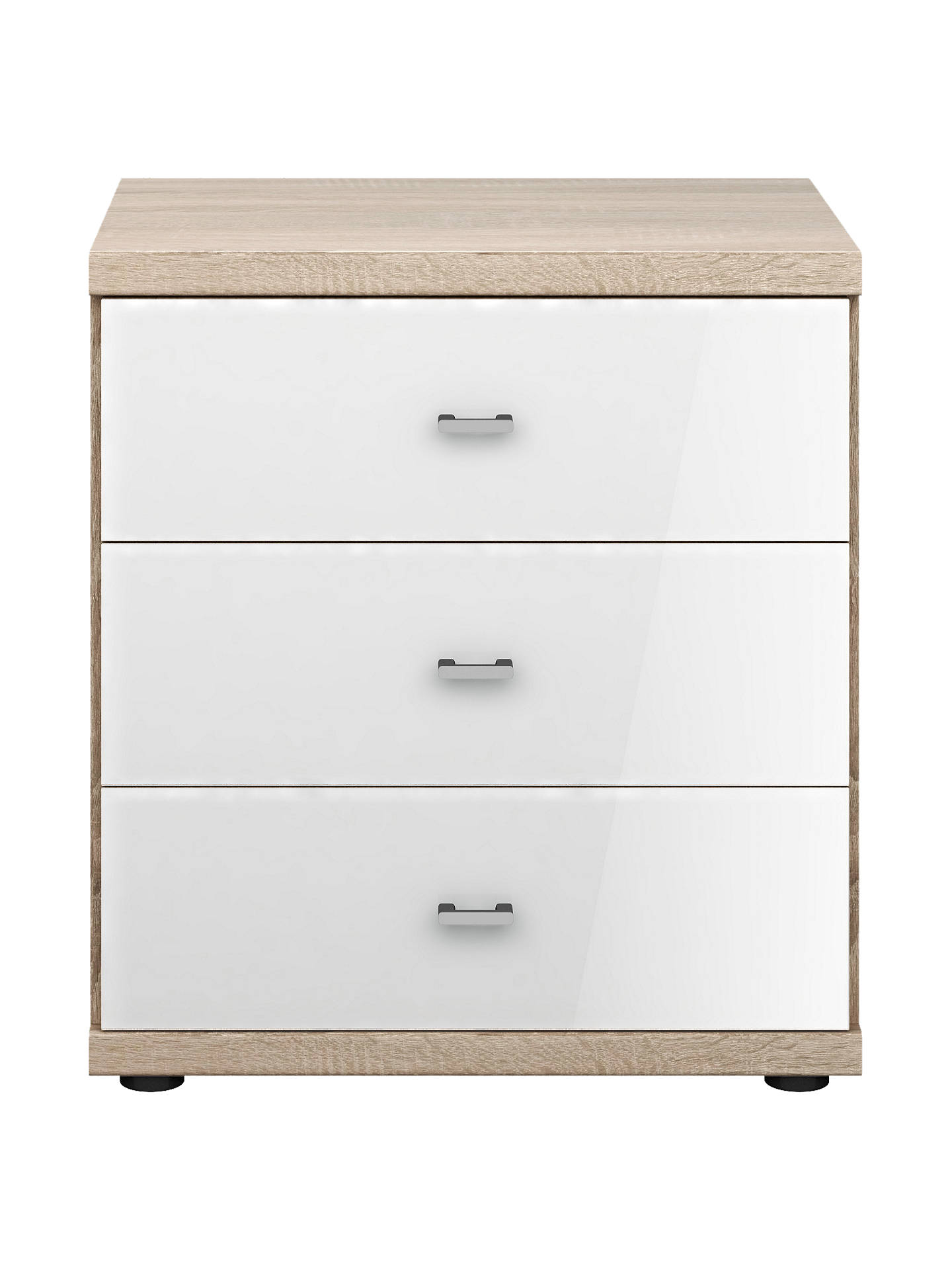 John Lewis Partners Satis Gl Front 3 Drawer Bedside Table White Light