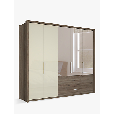 John Lewis & Partners Satis Combi Storage 250cm Wardrobe with Glass and Bronzed Mirrored Hinged Doors