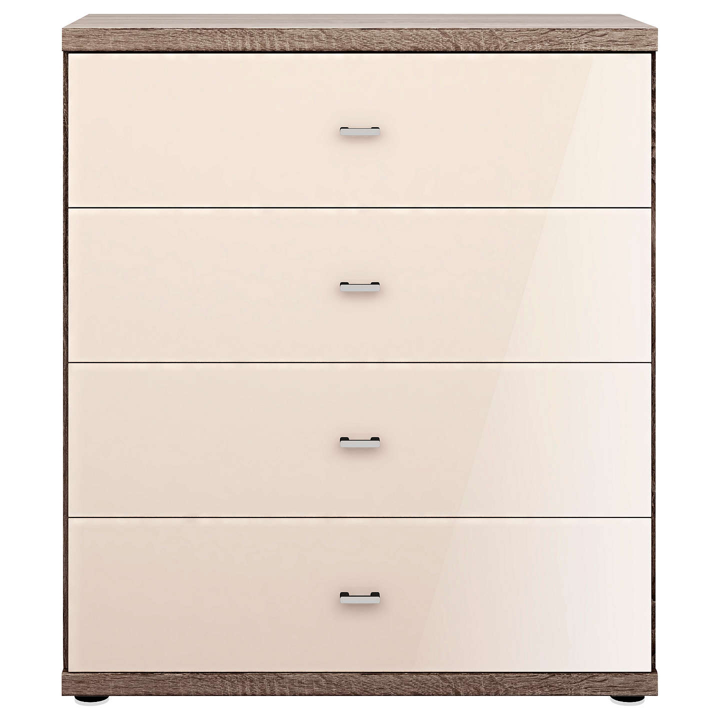 BuyJohn Lewis Satis Glass Front 4 Drawer Chest, Magnolia Glass/Dark Rustic Oak Online at johnlewis.com